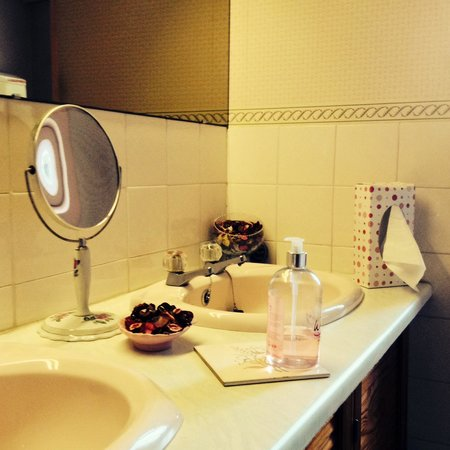 River Hotel: A homely touch exists throughout the hotel, this in the ladies washroom.