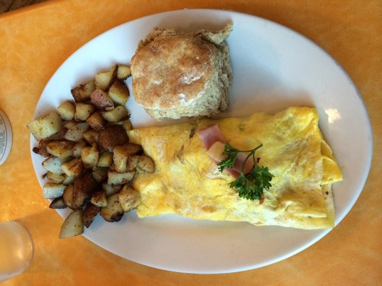 Bluegrass Grill: Ham and Pepper Jack cheese omelette with breakfast potatoes