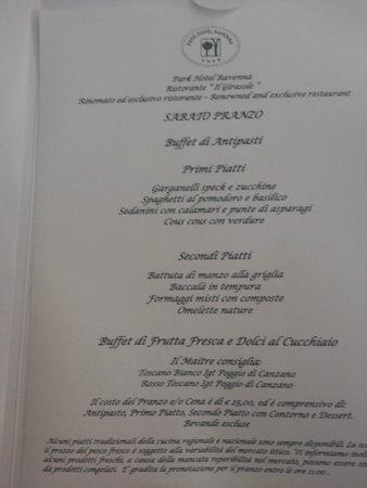 Park Hotel - Ravenna: Le proposte dello chef (?)