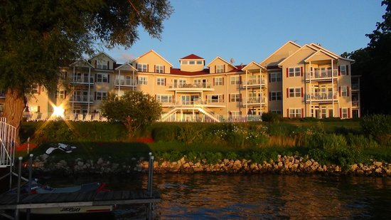 Delavan, WI: View of resort from the lake