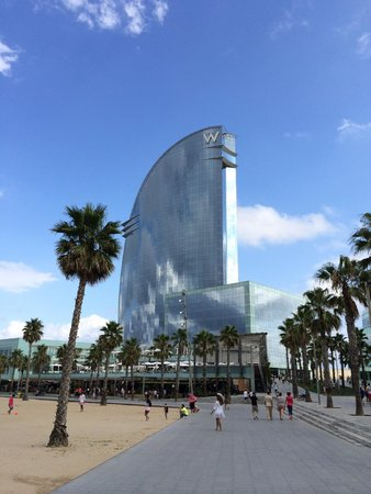 W Barcelona: From the beach - a reflective beauty