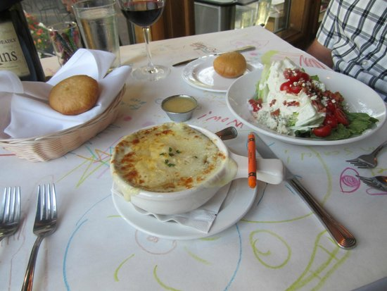 Pine Tavern Restaurant: French onion soup and wedge salad