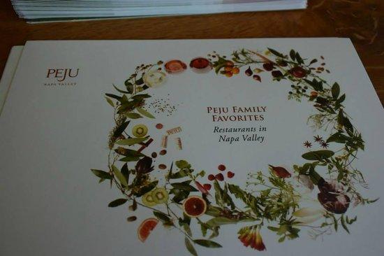 Peju Province Winery: Peju menu