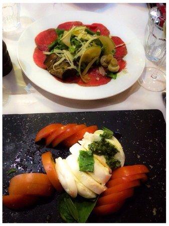 Centolire : Beef carpaccio and bifilar caprese