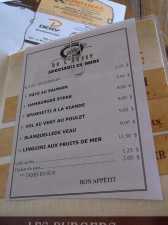 Brasserie de l'Ouest : Spéciaux du midi - 29/08/14