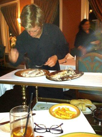 Ristorante Antipasti: Striper filet at our table at restaurant antipasta oc md