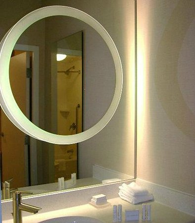 SpringHill Suites Statesboro University Area: The mirror on mirror for make up & hair time & brushing teeth in sink area