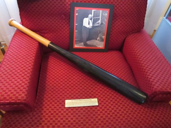 Shoeless Joe Jackson Museum: Joe Jackson's bat rests on a chair in the living room of his home.