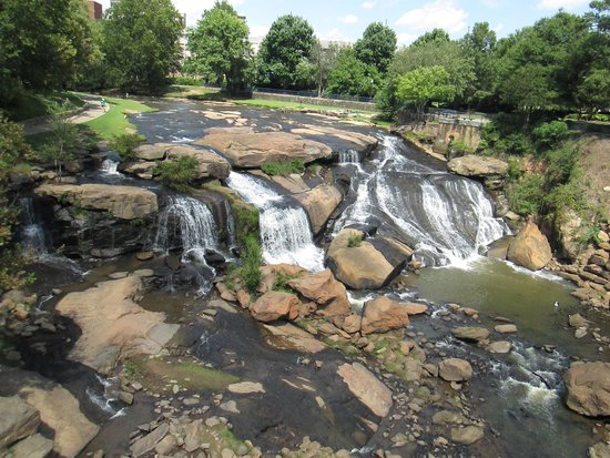 Falls Park on the Reedy: The falls from the bridge.