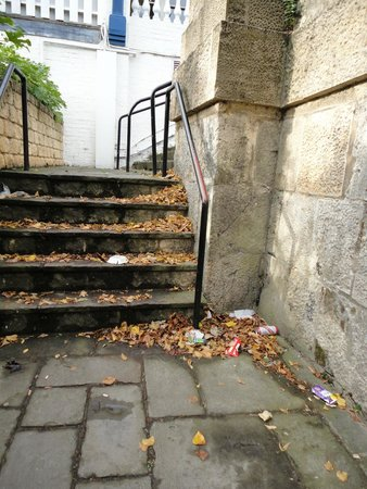 The Thames Riviera Hotel: Rubbish on steps leading to river