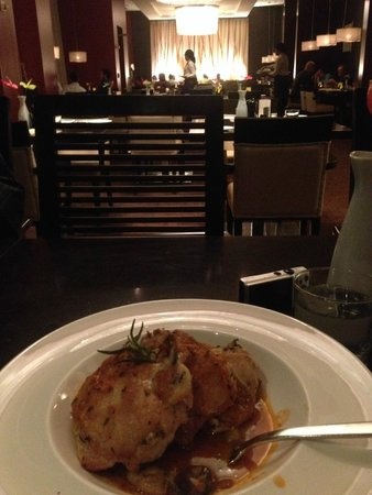The Waterfront Restaurant: grilled chicken with mushrooms and potatoes