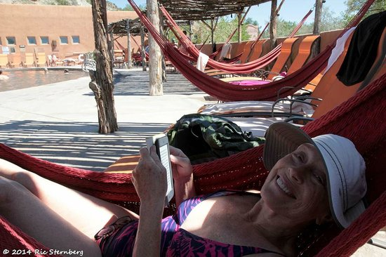 Ojo Caliente Mineral Springs Resort and Spa: Annie in poolside hammock