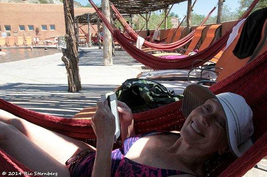 Ojo Caliente Mineral Springs Resort and Spa : Annie in poolside hammock