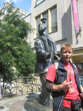 SANDEMANs NEW Prague Tours: Karel at the Franz Kafka Statue