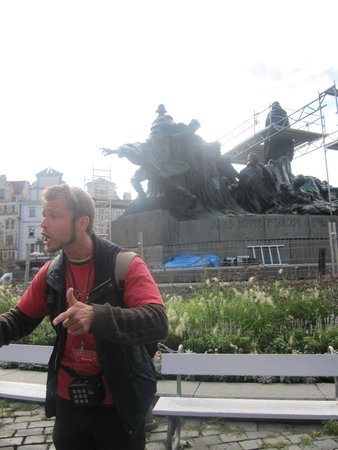 SANDEMANs NEW Europe - Prague: Karel at the Jan Hus Memorial in Old Town Square
