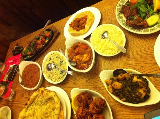 The Rose Inn & Delhi Spice: That's the indian way to eat! Great taste, huge variety! I am so pleased .... like a rainbow f