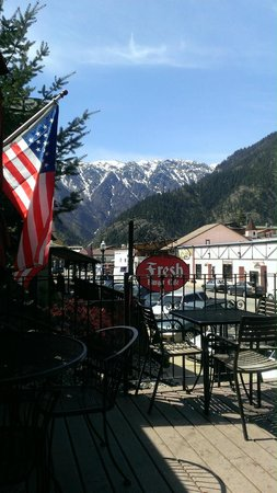 Fresh Burger Cafe : Breathtaking view from the deck - Fresh Burger. Leavenworth, WA April 2014