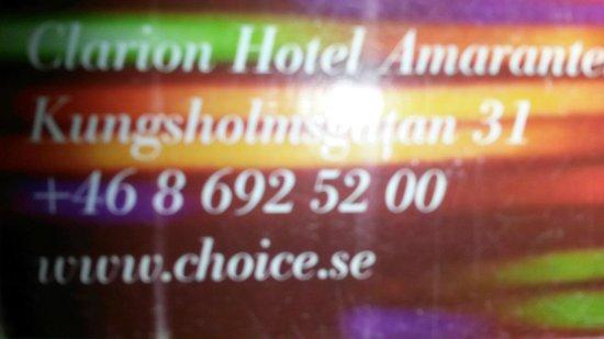 Clarion Hotel Stockholm : cartão