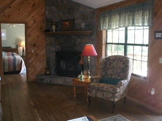 Laurel Mountain Cabins: the living room and fireplace