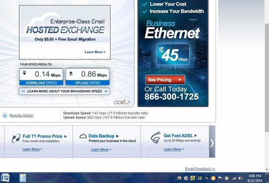 SpringHill Suites Anchorage Midtown: Terrible internet speeds.  Note the upload/download speeds on the left