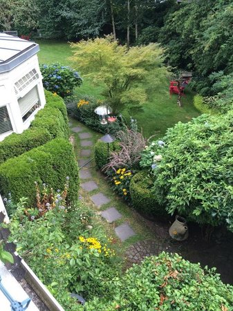 ThistleDown House: View of the backyard garden from second floor room.
