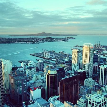Sky Tower : Views towards the Harbour and Rangitoto Island