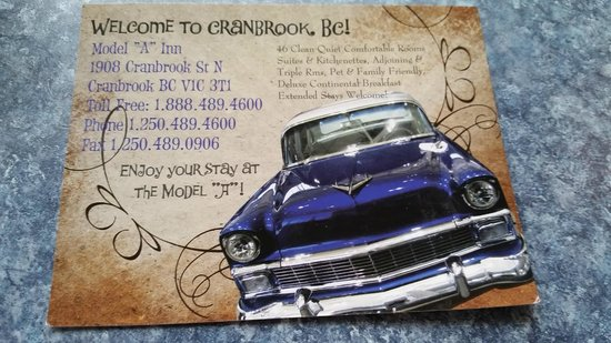 Business card with contact info for Model A Inn  |  1908 Cranbrook St N, Cranbrook, British Colu