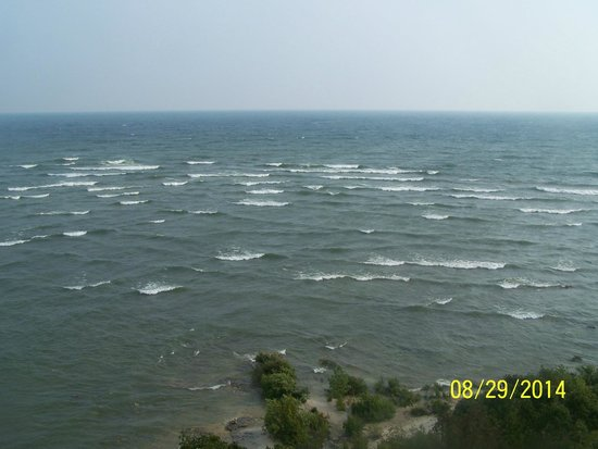 View of whitecaps on Lake Michigan from the top of Cana Island Lighthouse