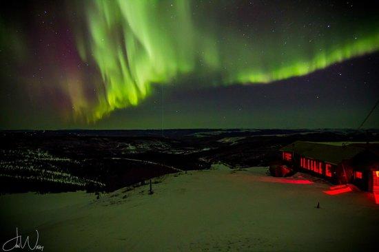 Ski Land: March 2014; Aurora over the lower ski lodge
