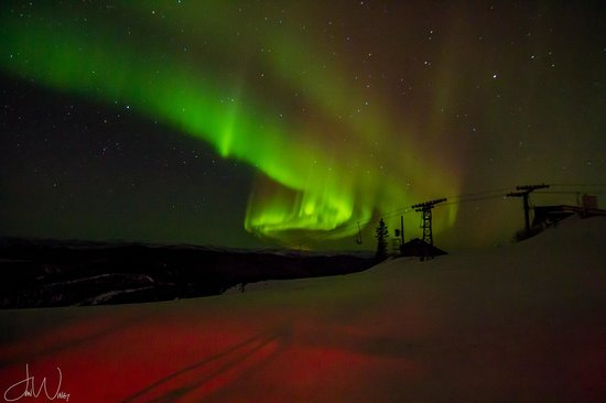 Fairbanks, AK: March 2014; Aurora over the ski lifts