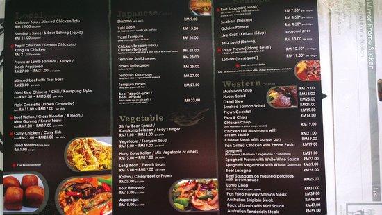 Bert's Garden Seafood Medan Ikan Bakar Batang Tiga : our menu 1