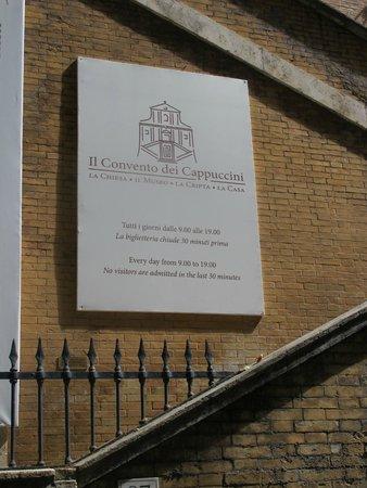 Santa Maria della Conceziones Cappuccini : Santa Maria della Concezione of the Capuchins, sign