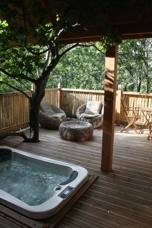 terrasse avec vue sur le chateau foto de cabane en provence entrechaux tripadvisor. Black Bedroom Furniture Sets. Home Design Ideas