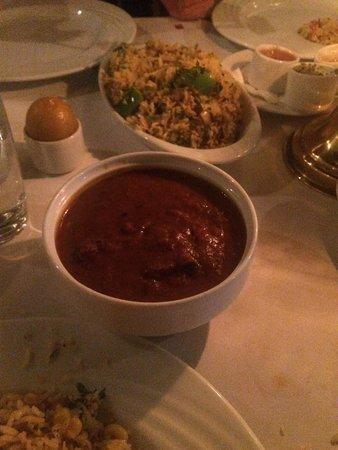 Tandoori: Lamb Rogan Josh and corn rice