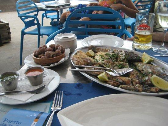 Cofradia de Pescadores: Parrillada de pescado con papas arrugás y mojo