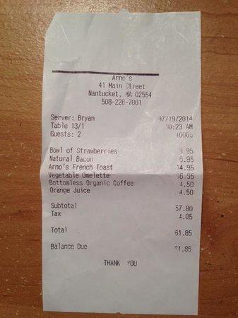 Arnos Main Street Grill: Check $$$$$$$$$$$