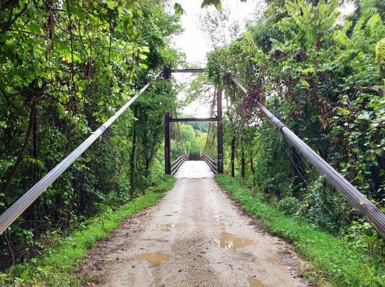 Swinging Bridge: The first, smaller bridge