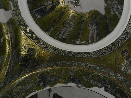 Nea Moni Monastery: Byzantijs (goud) mozaïek aan het plafond