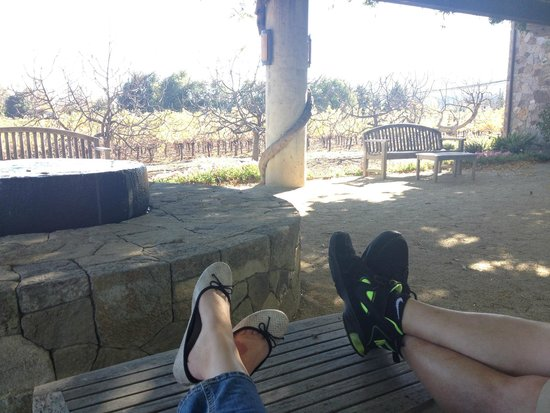 Heitz Cellars: Enjoying the day at Heitz on their beautiful patio!