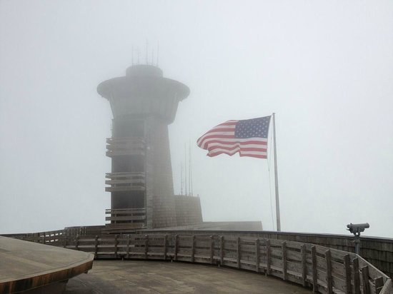 Brasstown Bald Mountain: Cloudy and windy.