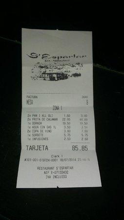 S'Espartar: El coste de la fritada de calamar para dos personas