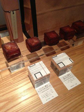 Omotesando Koffee: Omotesando baked custard squares made on premise.