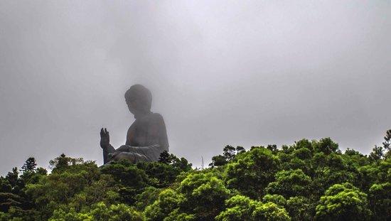 Grand Bouddha : Big Buddha and cloud at lantau island