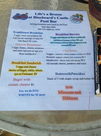 Bluebeard's Castle Resort: Breakfast Menu--Life's a Breeze at Bluebeard's Castle Pool Bar