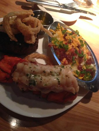 Ray's at Killer Creek: 10oz Filet with Lobster Tail and Loaded Mashed Potatoes
