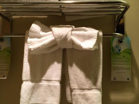Juniper Springs Resort: Nicely folded towels in the bathroom