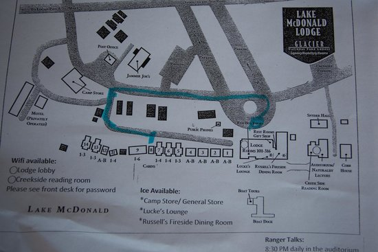 Cabin Layout Map - Picture of Lake McDonald Lodge, Glacier ... on glacier natl park map, east glacier park map, glacier park peak map, glacier park hotel map, glacier montana map, many glacier hotel map, glacier park camping map, lake mcdonald lodge map,
