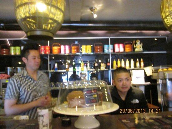 Goa Coffeeshop: Behind the counter