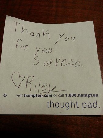 Hampton Inn Dallas / Addison: Note my 8 year old left for Housekeeping - they were so nice!