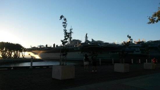 USS Midway Museum: Sunset behind the Midway